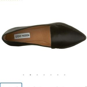 Steve Madden Black Leather Feather Flats 6.5
